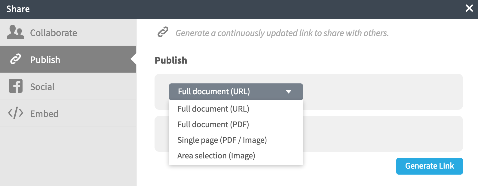 publish link dialog in Lucidchart