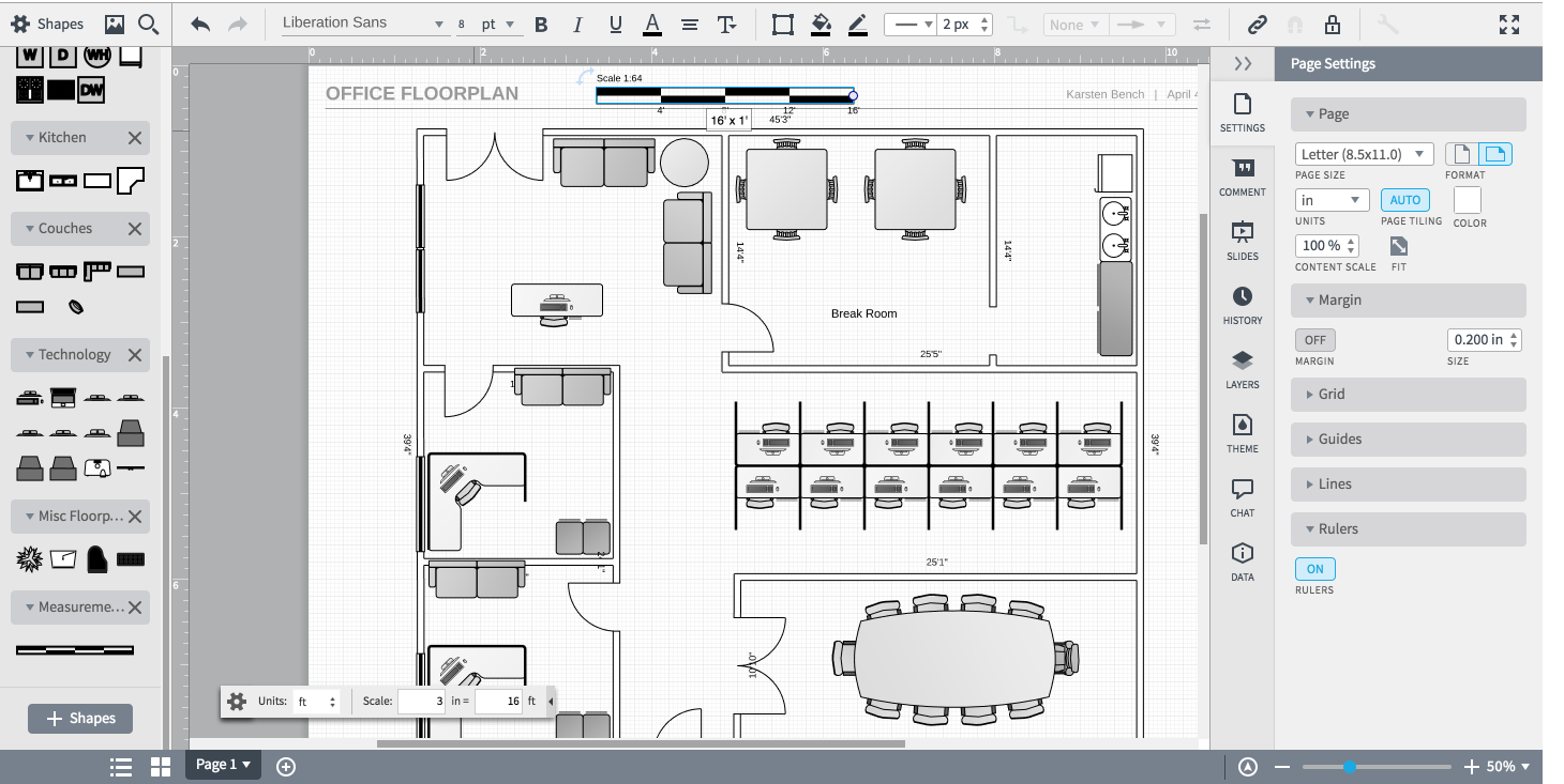 Floorplan tools lucidchart for Draw a floorplan to scale for free