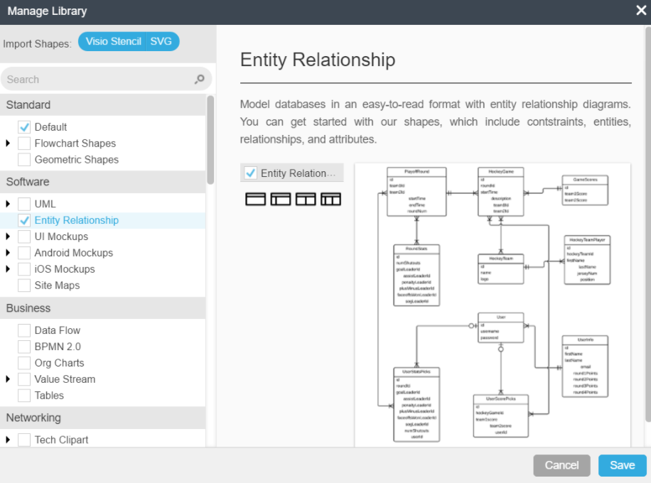 Entity relationship diagrams lucidchart lucidchart erds open shape manager ccuart Image collections