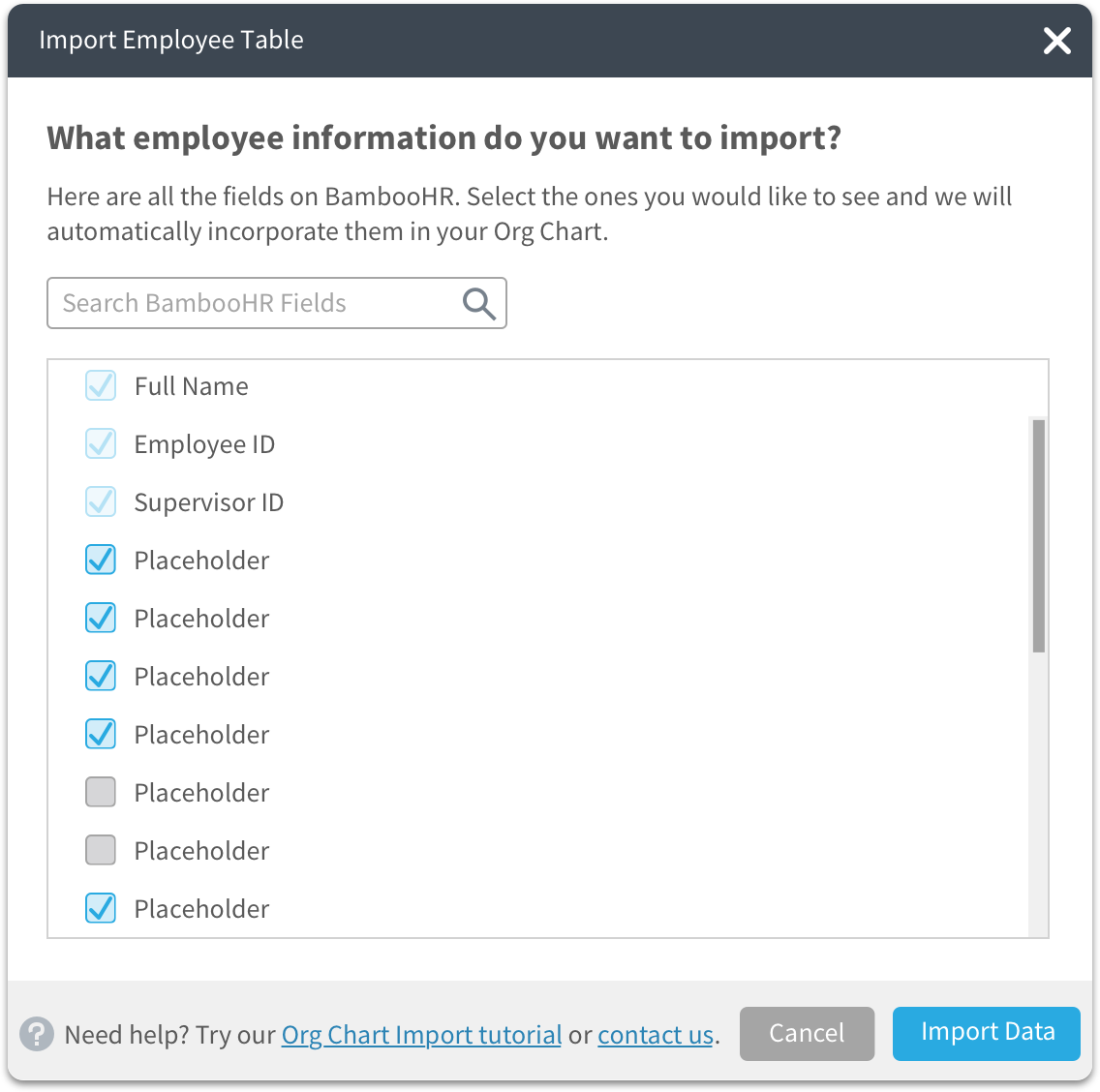 select BambooHR data to import