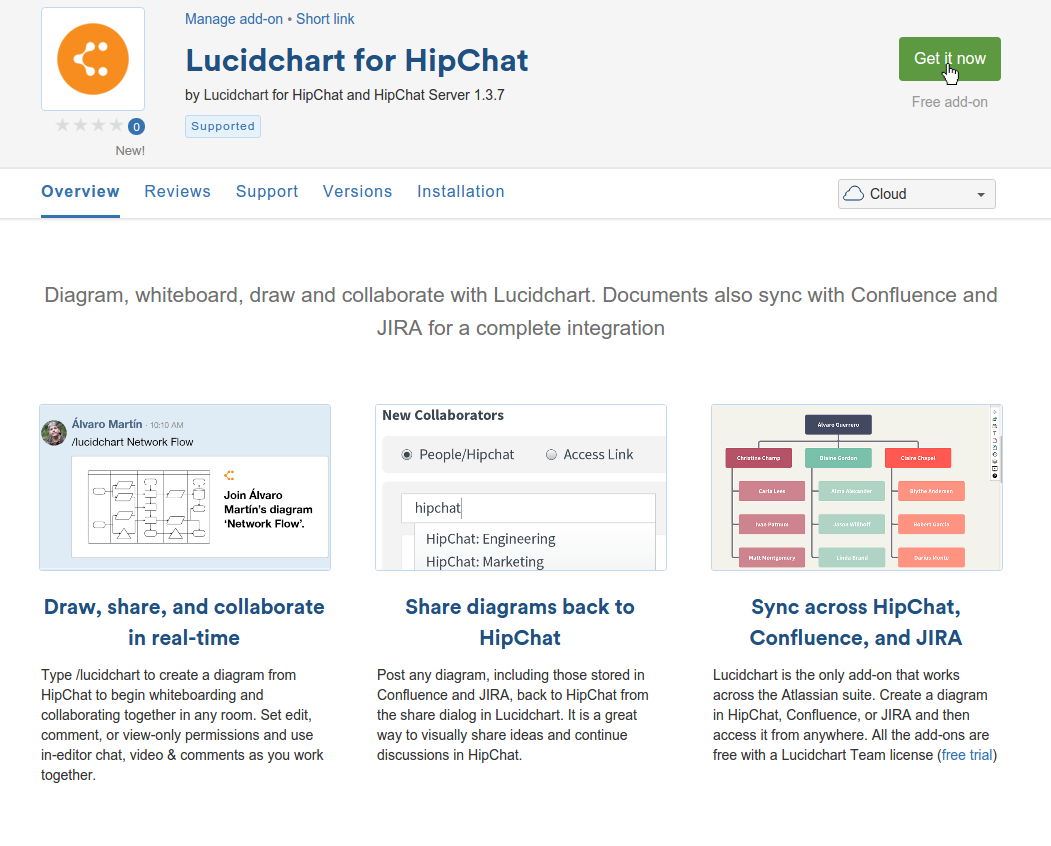 See Hipchat for Lucidchart in the Atlassian Marketplace
