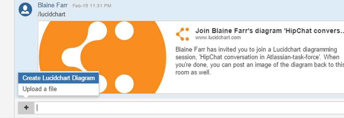 Create a Lucidchart diagram within Hipchat